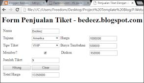 membuat form html online membuat form penjualan tiket dengan javascript bedeez