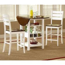 ridgewood 3 pc counter height drop leaf dining set white from