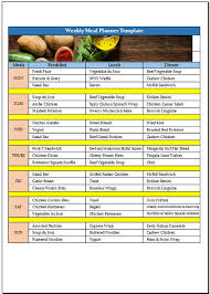 Meal Plan Excel Template Free Weekly Meal Planner Template For Excel 2007 2016