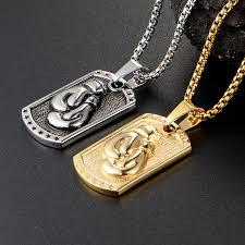 titanium dog tag necklace images Funique creative men boxing glove weird necklace pendants jpg
