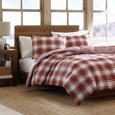 Home Design Down Alternative Comforter by A Red And White Plaid Pattern Adds Traditional Charm To The