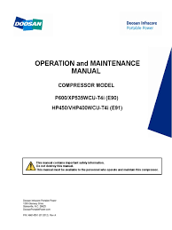 doosan hp450 operator manual valve gas compressor