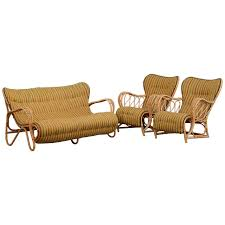 Rattan Settee Set Of 1940s 1950s Danish Rattan Sofa And Armchairs For Sale At