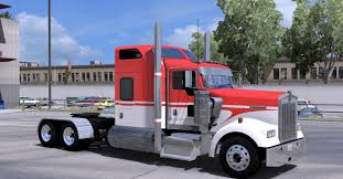 kenworth bus kenworth w900 white red skin mod american truck simulator mod