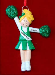 blond with green pom poms personalized
