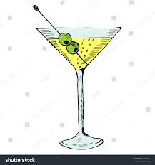 martini olive martini olive glass hand drawn ink stock vector 613352807