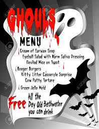 humorous menu for halloween ghouls featuring gross food blood