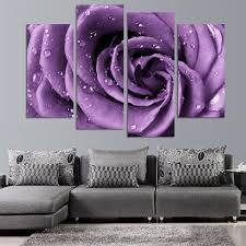 Purple Home Decorations by 4 Panels Canvas Print Purple Rose Painting On Canvas Wall Art