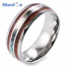 8mm ring size shardon men s 8mm titanium wedding ring with wood pearl