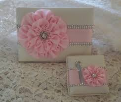 quinceanera guest book ivory satin wedding guest book with light pink flower and