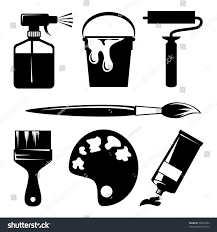 set vector silhouette icons paint painting stock vector 56630794