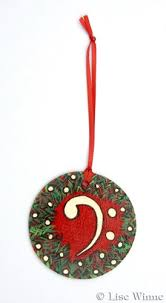 treble clef and bass clef ornament in painted