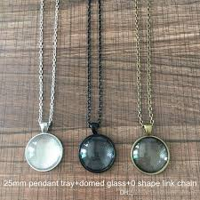 necklace making set images 1 inch 25mm round pendant tray domed glass cabochon jewelry jpg