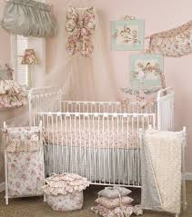 modern baby nursery ideas gray wal white floral valance blue