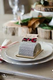 Table Card Holders by Place Card Holders Made Out Of Old Books Sew A Fine Seam