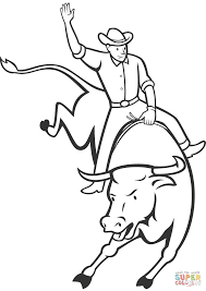 rodeo bull riding coloring page free printable coloring pages