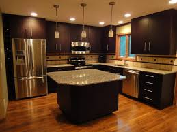 enchanting dark kitchen interior with granite kitchen island also