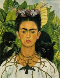 self portrait with thorn necklace and hummingbird 1940 by frida kahlo