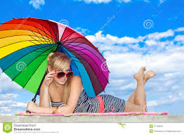 Beach Color by In Retro Style By Color Umbrella On The Beach Stock Image