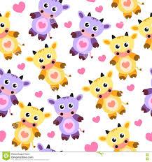 Wallpaper Children Seamless Wallpaper Pattern Cow Soft Toy Vector Illustration
