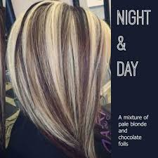hair foils styles pictures night and day a mixture of pale blonde and chocolate foils