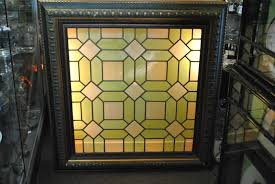 antique stained glass transom window antique stained glass window in greens and yellows framed and back