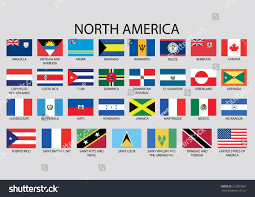 north america continent flag pack stock vector 215005867