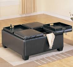 Soft Ottoman Table Rectangular Leather Cocktail Ottoman Square Table With