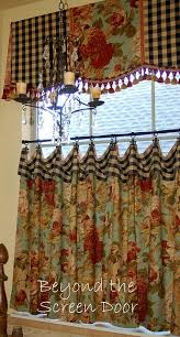 Country Style Kitchen Curtains And Valances The Turquoise Material On The Caf礬 Curtains