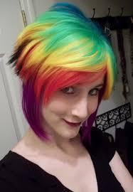 rainbow color hair ideas short funky hairstyles for girls with straight hair with rainbow