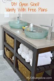 Open Bathroom Shelves Bathroom Shelves Diy Open Shelf Vanity Plans Included H