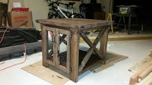ana white richards rustic x end table with chicken wire doors