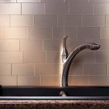 aspect 3x6 brushed champagne long grain metal backsplash tile