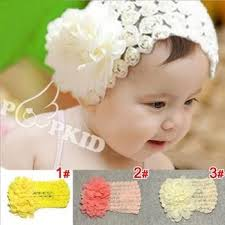 baby bands chiffon flowers pearl child hair bands babymodelz