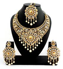 white necklace sets images Buy designer golden white stone bridal necklace set with maang JPG