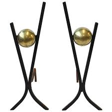Antique Brass Fireplace Andirons by Stylish Midcentury Iron And Brass Andirons Midcentury Irons