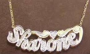 name plated necklace personalized 14k gold overlay silver plate 3d any name