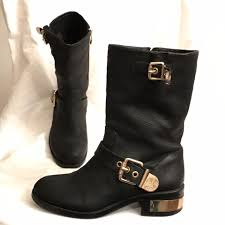 leather biker boots vince camuto black gold winchell distressed leather motorcycle biker