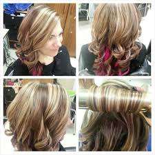 blonde hair with mocha lowlights blonde highlights with mocha low lights and pink peek a boos hair