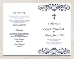 catholic wedding program cover catholic wedding program template diy silver gray cross