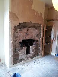lime mortar exposed brick fireplace rebuilding archway log
