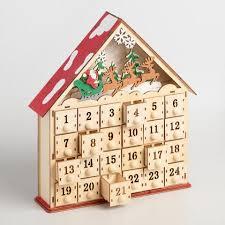wood advent calendar wood advent calendar house with led lights world market