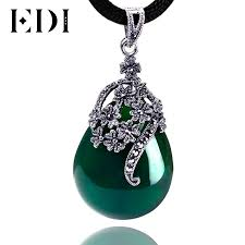 green drop necklace images Edi women vintage green jade jewelry 925 sterling thai silver jpg