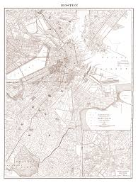 Map Of Boston by 1900 U0027s City Lithograph Map Of Boston
