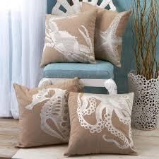 Seashore Decorative Pillows Sealife Embroidered Throw Pillow Throw Pillows Pillows And