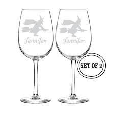 halloween barware 2 personalized halloween wine glasses gift etched wine glass