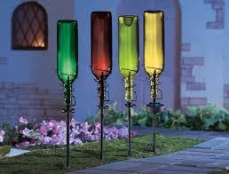 Solar Stake Garden Lights - set of 4 solar wine bottle holder stakes garden light outdoor