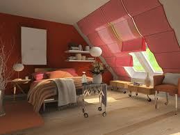 attic rooms with sloped ceilings light gray tufted bed headboard