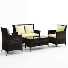 Ebay Wicker Patio Furniture Luxo Coogee Brown 4 Piece Pe Wicker Outdoor Sofa Lounge Furniture