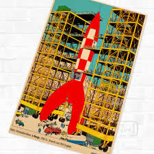 compare prices on rocket decorations online shopping buy low assemble rockets tintin cartoon comic vintage retro kraft coated poster decorative diy wall sticker home art